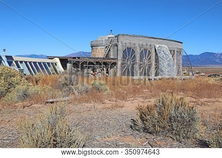 Taos, New Mexico - October 26 2019: Environmentally Friendly Buildings Constructed With Recycled Mat