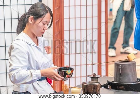 Japanese Student Is Making Japanese Traditional Green Tea.