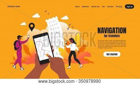 Travel App Landing Page. Smartphone Application Concept With Map And Route, Web Page With Navigation