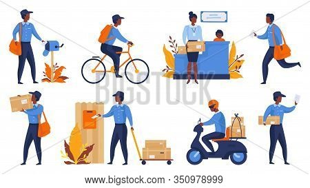 Postman. Cartoon Delivery Worker Character Shipping Parcels, Walking With Mail And Riding. Vector Ex
