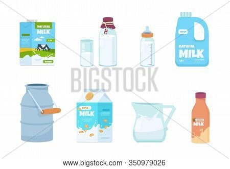 Cartoon Milk. Plastic Bottle, White Food Container, Carton Package, Bottle And Glass With Milk. Vect