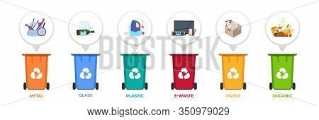 Garbage Recycle. Containers With Sorted Waste, Infographic With Disposal Separation, Plastic Paper M