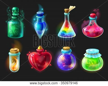 Magic Potion. Cartoon Game Interface Elements, Alchemist Bottles With Elixir, Poison, Antidote And L