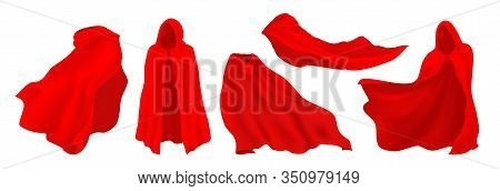 Red Cape With Hood. Realistic Superhero Cloak, Vampire And Illusionist Silk Party Costume. Vector Il