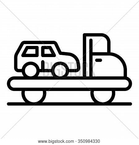 Car Accident Tow Icon. Outline Car Accident Tow Vector Icon For Web Design Isolated On White Backgro