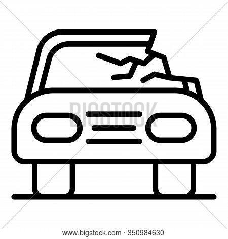 Damage Car Accident Icon. Outline Damage Car Accident Vector Icon For Web Design Isolated On White B