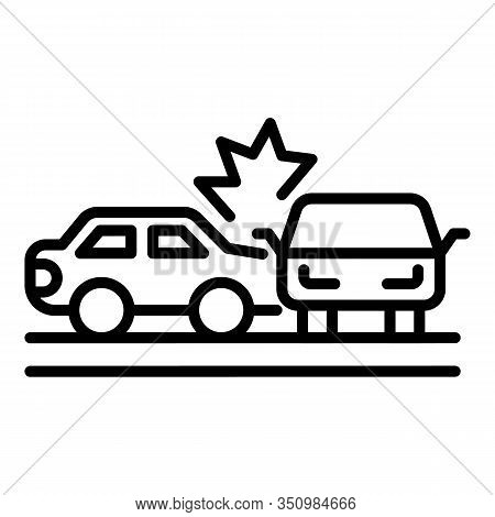 Vehicle Accident Icon. Outline Vehicle Accident Vector Icon For Web Design Isolated On White Backgro