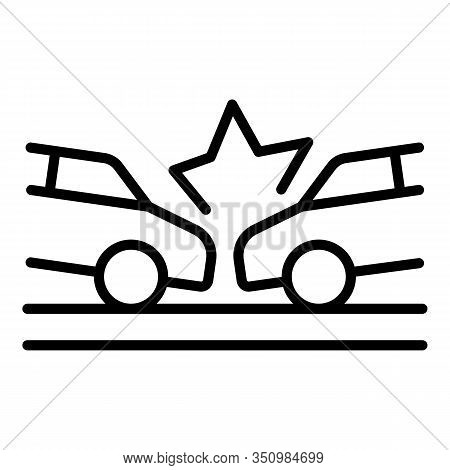 Road Car Accident Icon. Outline Road Car Accident Vector Icon For Web Design Isolated On White Backg