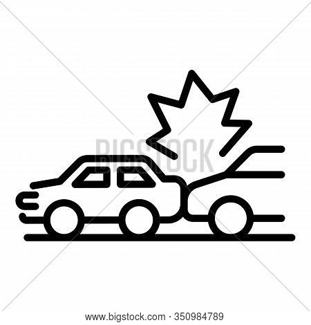 Back Car Accident Icon. Outline Back Car Accident Vector Icon For Web Design Isolated On White Backg