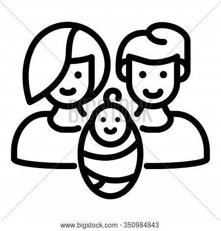 Foster Family Baby Icon. Outline Foster Family Baby Vector Icon For Web Design Isolated On White Bac