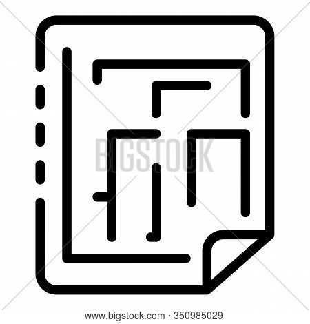 Reconstruction Paper Plan Icon. Outline Reconstruction Paper Plan Vector Icon For Web Design Isolate