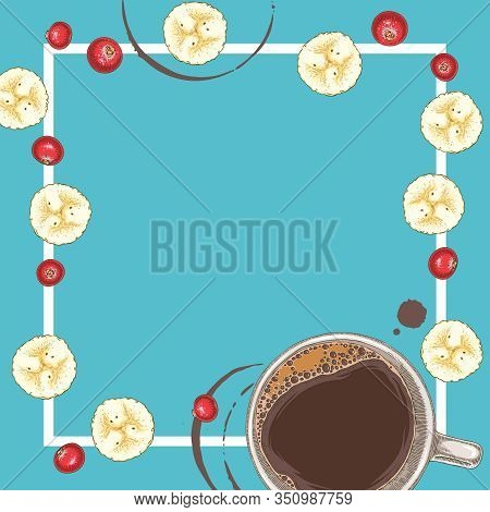Square Menu Template With Coffee, Banana Slices And Cranberry On Blue Background. Empty Space In The