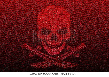 A Contrasting Jolly Roger On A Blood-red Bright Background From Terms Related To Computer Viruses, T