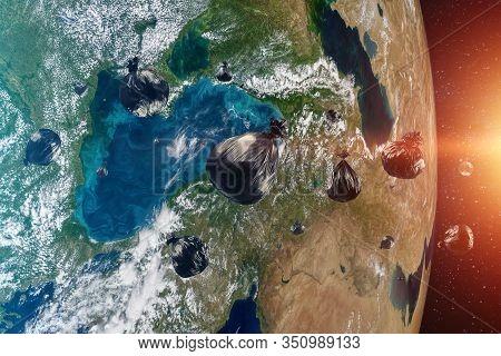 Debris In Earth Orbit, Dangerous Debris In Orbit Around The Planet. Elements Of This Image Furnished