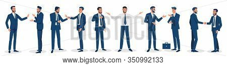 Businessmen Isolated. Set Of Business Characters Working In Office. Isolated Vector Design. Internat