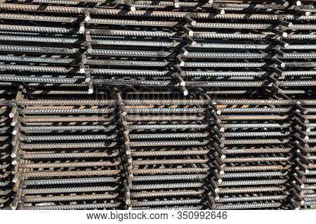 Steel Reinforcement Bar For Industrial Building. Reinforcing Iron. Closeup Of Rebars