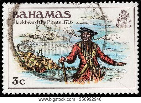 Luga, Russia - October 5, 2019: A Stamp Printed By Bahamas Shows Legendary Blackbeard The Pirate - M