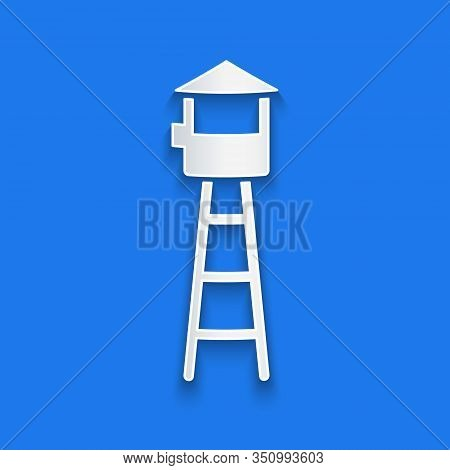 Paper Cut Watch Tower Icon Isolated On Blue Background. Prison Tower, Checkpoint, Protection Territo