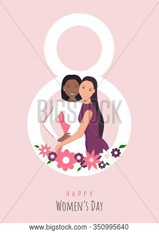 Happy Womens Day Illustration. March 8, International Womens Day. 8 March, Womens Day Background, Ba