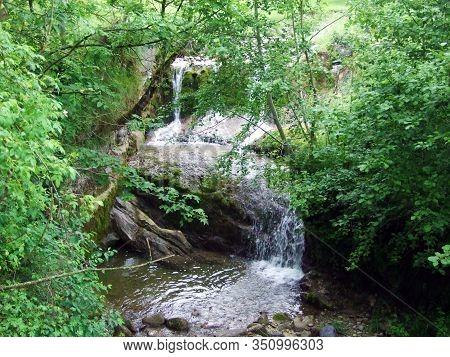 Egglibach Creek In The Urnäsch (urnaesch Or Urnasch) Settlement And At The Foot Of Hochhamm Mountain