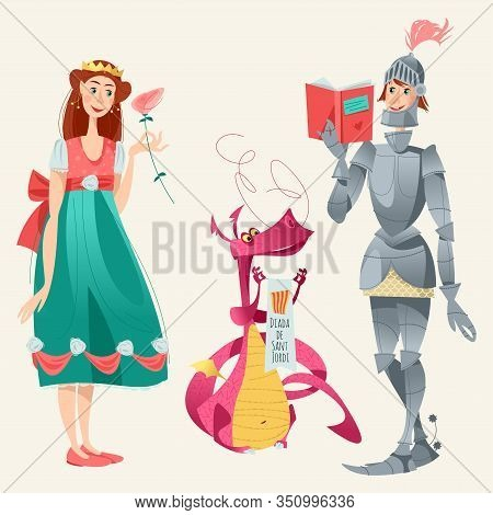 Diada De Sant Jordi (the Saint George S Day). Princess With A Rose, Knight With A Book And Dragon. D