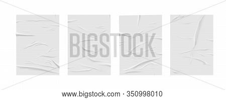 Glued Paper Wrinkled Effect, Vector Realistic Background. Badly Wet Glued Paper Or Gray Adhesive Foi