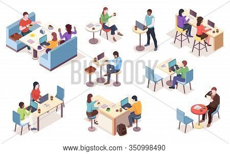 Set Of Isolated Vector Isometric People With Notebook At Cafe. Cafeteria Work Or Job At Dining Room