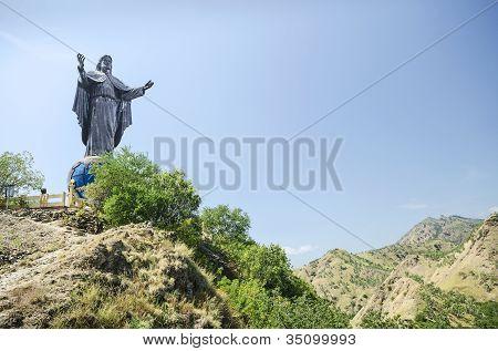 cristo rei statue near dili east timor timor leste poster