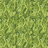 vector seamless pattern with green tangled grass poster