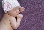 Newborn baby girl asleep on a blanket. poster