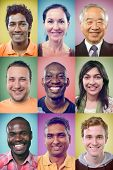 Happy smiling portrait collage collection of multiracial group of people showing racial diversity and unity posing for headshot on colourful multicolored background poster