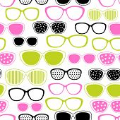 Glasses and sunglasses seamless pattern. Vector texture. poster
