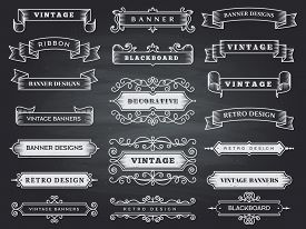 Retro Horizontal Banners. Ribbon Flourish Ornate Frame Decoration Vector Vintage Collection. Ribbon