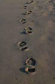 Walking And Relaxing At Beach And Human Footprints On Sands In Winter Season.