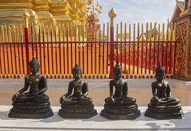 Buddha Statue At Wat Phra That Doi Suthep In Chiang Mai, Thailand.