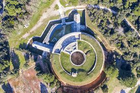 An Aerial View Of Fort Bourguignon, A Fortress Built During The Austrian Empire In Pula, Istria, Cro