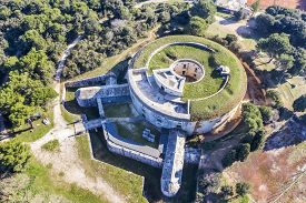 Aerial View Of Fort Bourguignon, A Fortress Built During The Austrian Empire In Pula, Istria, Croati