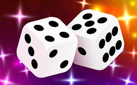 Two Dices, Surrounded By A Luminous Frame. Luck Banner. Casino Concept.