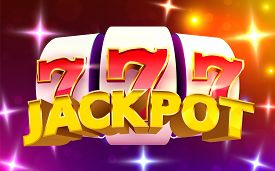 Slot Machine Wins The Jackpot. 777 Big Win Casino Concept.