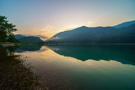 Summer Sunrise Landscape Of The Lake Corlo, Italy