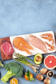 Food Overhead Flat Lay Shot. Main Proteins, Meat, Fish, Poultry And Seafood, With Vegetables And Fru
