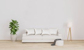 Bright Living Room For Mockup With White Sofa, White Modern Lamp, Plant.  Furnished Living Room With