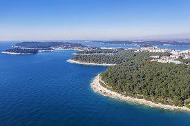 An Aerial View Of Coastline Valsaline, Valkane, Stoja In Pula, Istria, Croatia