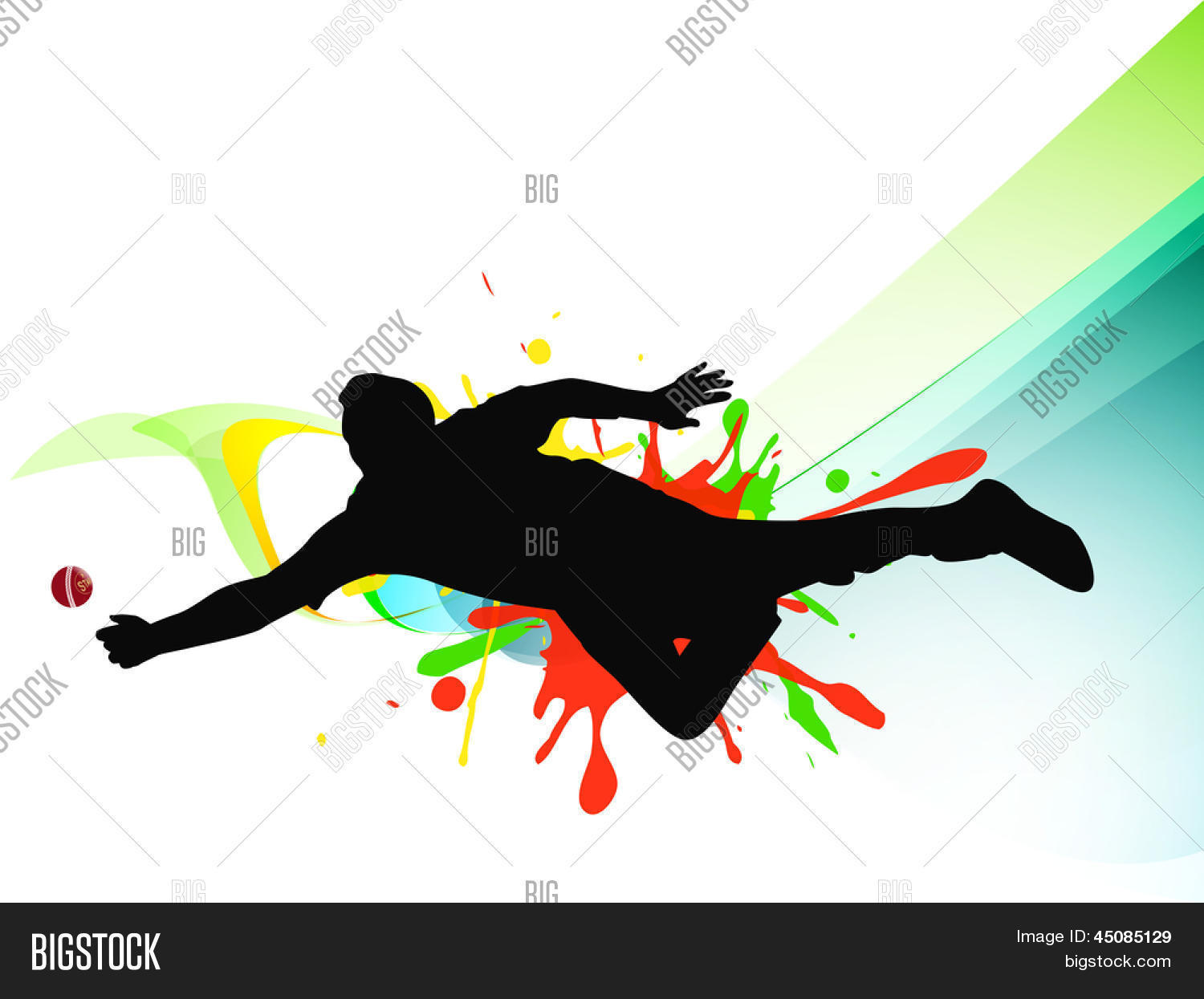 cricket bowler playing action on vector amp photo bigstock