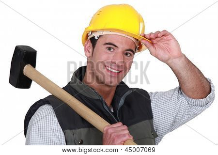 Man with sledge-hammer
