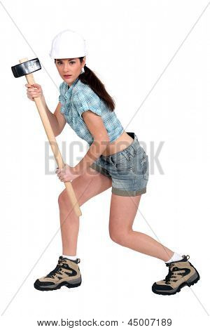 Female builder with hammer poster