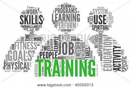 Educação e treinamento relacionados ao conceito de palavras na tag cloud