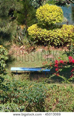 Blue Garden Bench