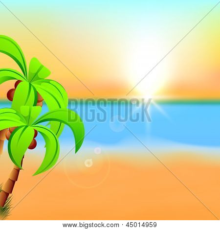 Summer background with palm trees at seaside.