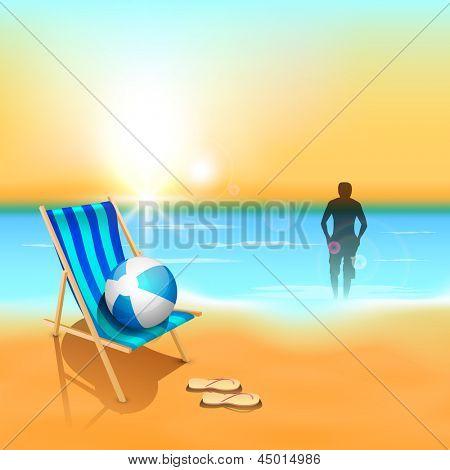 Evening summer background at seaside.